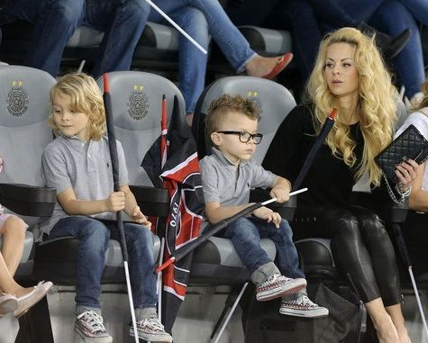Nice picture of Helena Seger at a soccer game with her and Zlatan Ibrahimovic's two kids